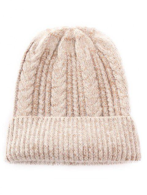Outdoor Striped Flanging Knitted Beanie - TAN