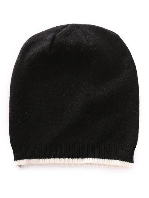 Solid Color Crochet Knitted Beanie - BLACK