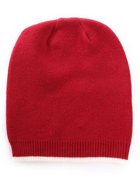Solid Color Crochet Knitted Beanie - CHERRY RED