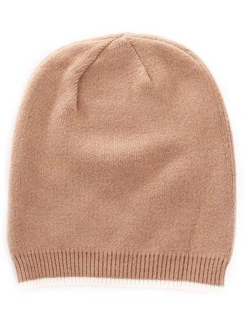 Solid Color Crochet Knitted Beanie - CINNAMON
