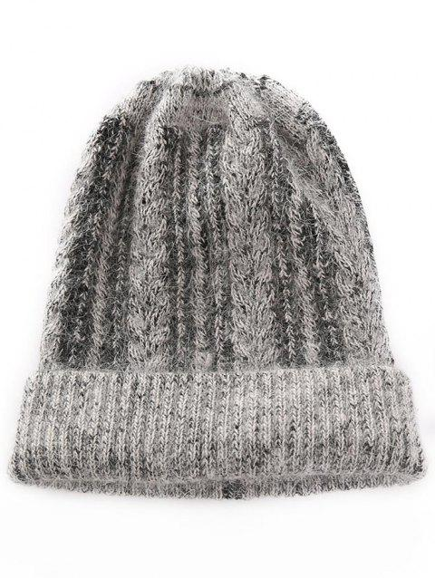 Outdoor Striped Flanging Knitted Beanie - SMOKEY GRAY