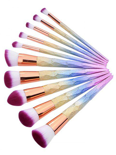 Cosmetic 10Pcs Colored Handles Ultra Soft Travel Cosmetic Brush Suit - multicolor REGULAR