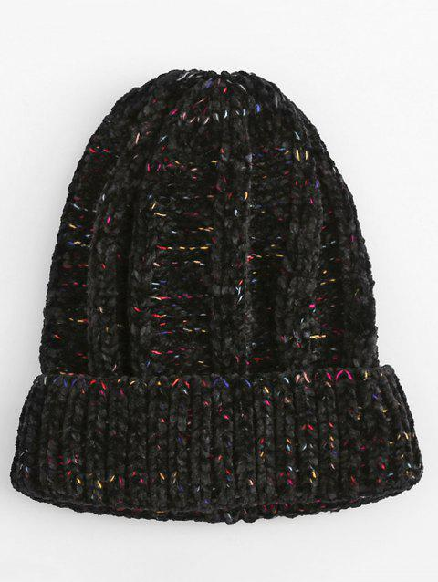 Vintage Colormix Flanging Knitted Ski Cap - BLACK