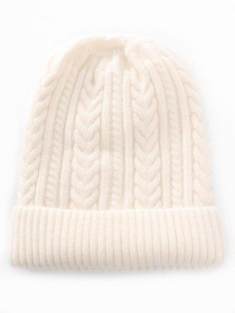 Outdoor Striped Flanging Knitted Beanie - BEIGE