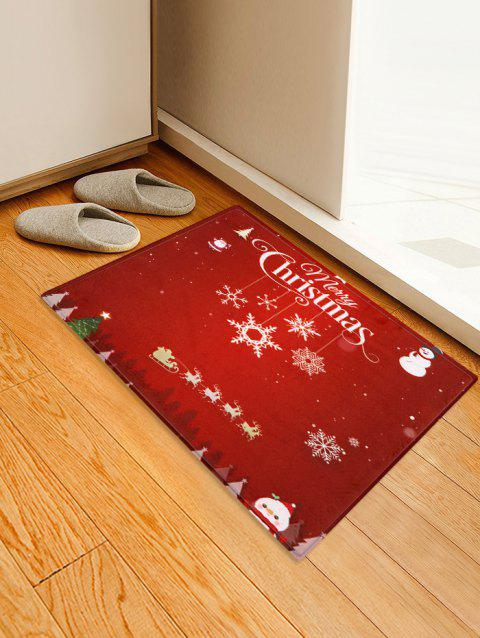 Merry Christmas Snowflake Snowman Floor Mat - multicolor W24 X L35.5 INCH