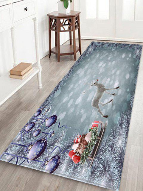Merry Christmas White Deer Pattern Floor Mat - multicolor W24 X L71 INCH