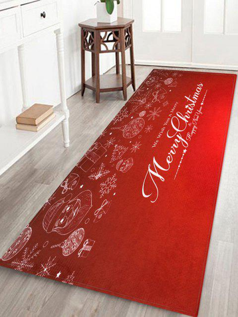 Tapis de Sol Motif Inscription Merry Christmas et Flocons de Neige - multicolor W16 X L47 INCH