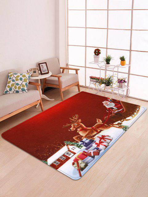 Christmas Santa Claus Deer Floor Mat - multicolor W47 X L63 INCH