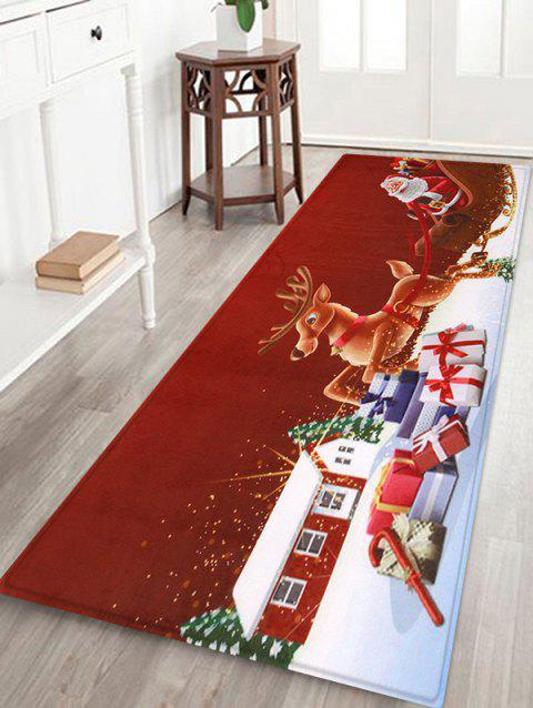 Christmas Santa Claus Deer Floor Mat - multicolor W16 X L47 INCH