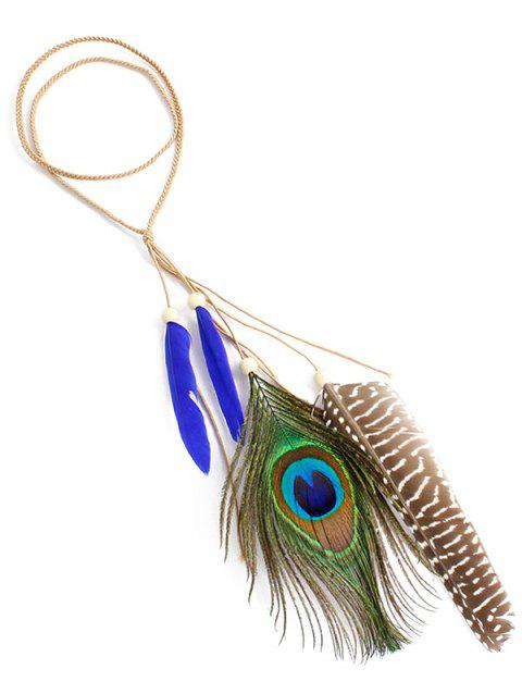 Indian Peacock Feather Hairband - NAVY BLUE