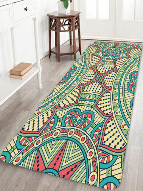 Ethnic Print Coral Fleece Rectangular Carpet - YELLOW GREEN W16 INCH * L47 INCH