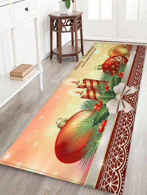 Christmas Candle Coral Fleece Floor Mat - multicolor W24 X L71 INCH