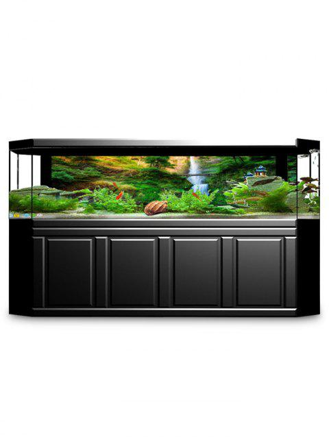 Mountain Waterfall Print Aquarium Fish Tank Background Sticker - multicolor W24 X L11.8 INCH