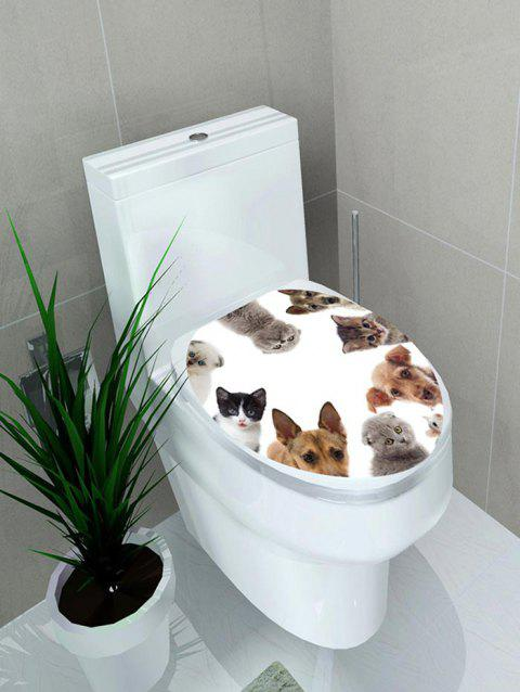 Cats and Dogs Print Toilet Sticker - multicolor