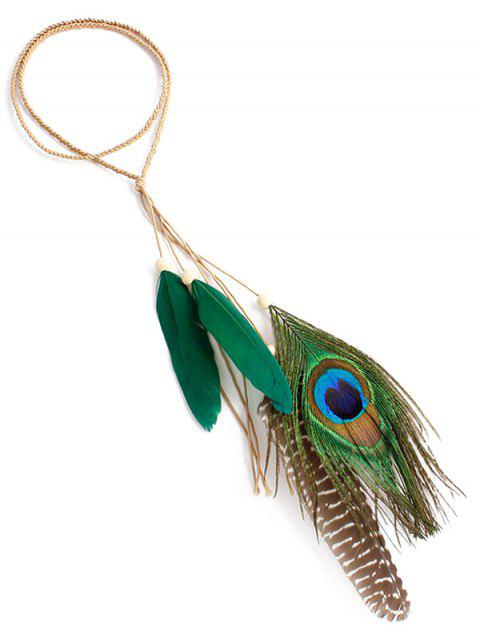 Indian Peacock Feather Hairband - GREEN