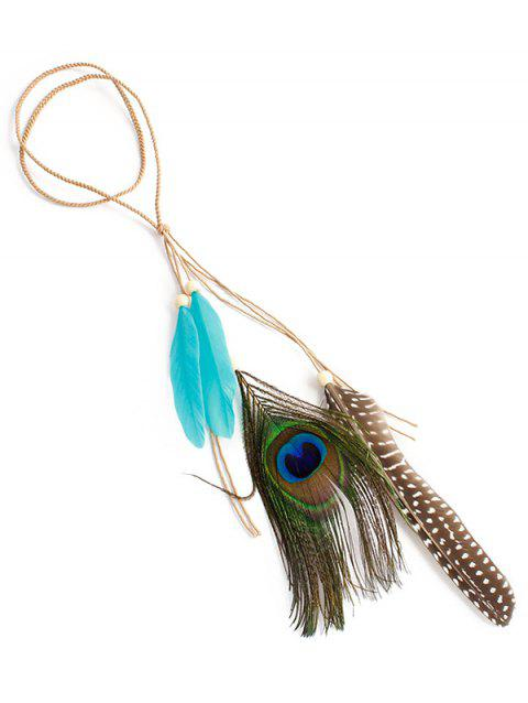 Indian Peacock Feather Hairband - TRON BLUE