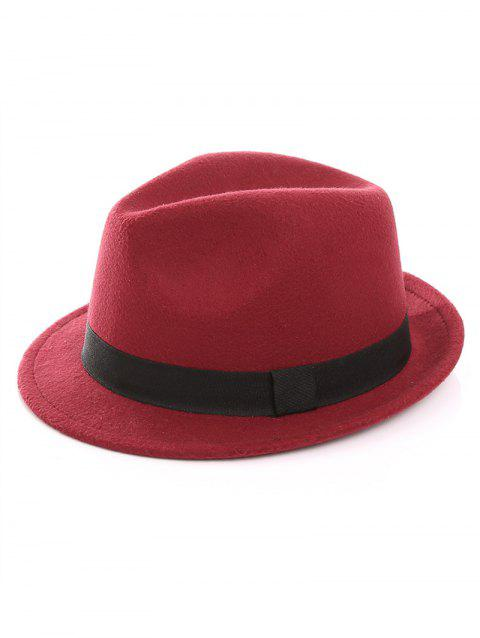 Elegant Bowknot Solid Color Jazz Hat - RED WINE