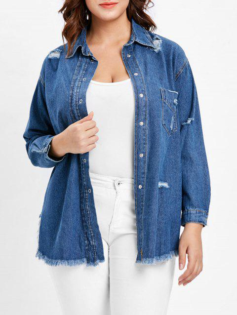 Plus Size Distressed Denim Blouse - DENIM DARK BLUE 2X