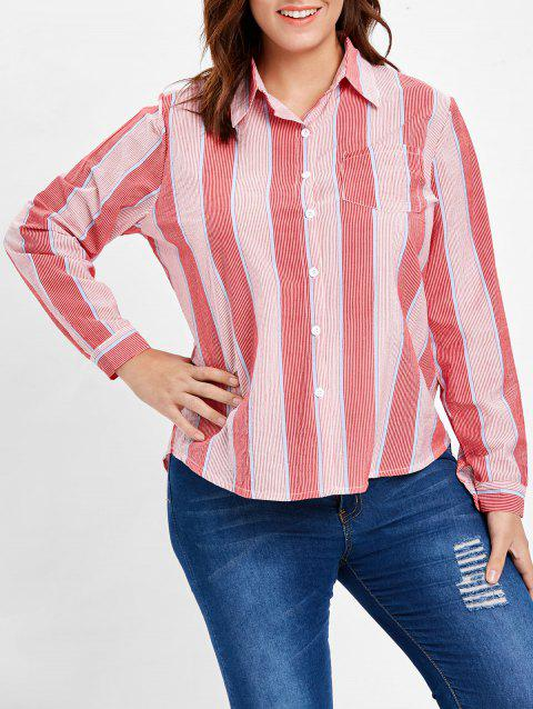 Plus Size Pocket Striped Blouse - BEAN RED 1X