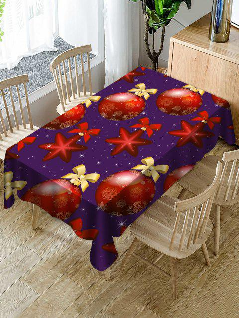 Christmas Baubles Print Waterproof Dining Tablecloth - multicolor W54 X L72 INCH