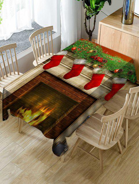 Waterproof Christmas Fireplace Printed Dining Tablecloth - multicolor W54 X L72 INCH