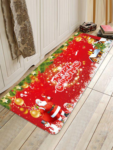 Christmas Santa Claus Printed Anti-skid Floor Rug - multicolor W24 X L71 INCH