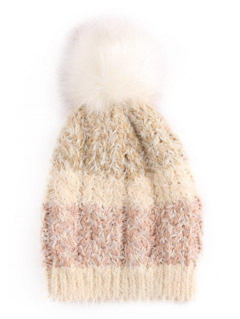 Color Block Fuzzy Ball Ski Cap - TAN