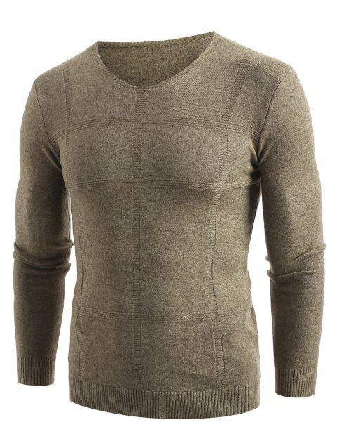 Solid V Neck Pullover Sweater - KHAKI S