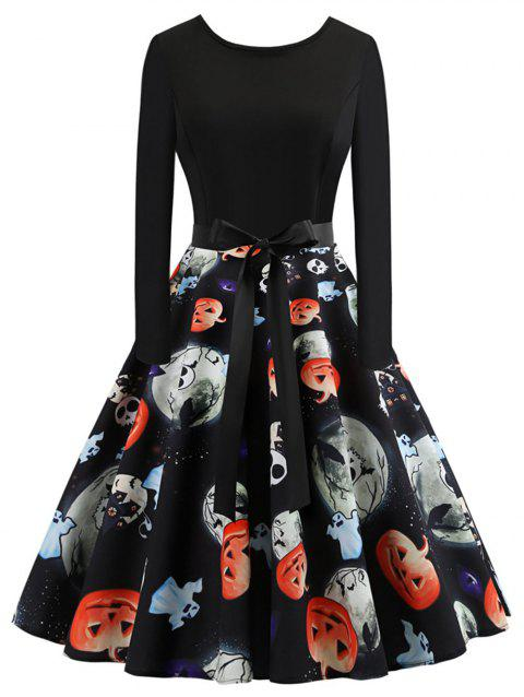 Plus Size Ghost Print Halloween Dress - BLACK 4X