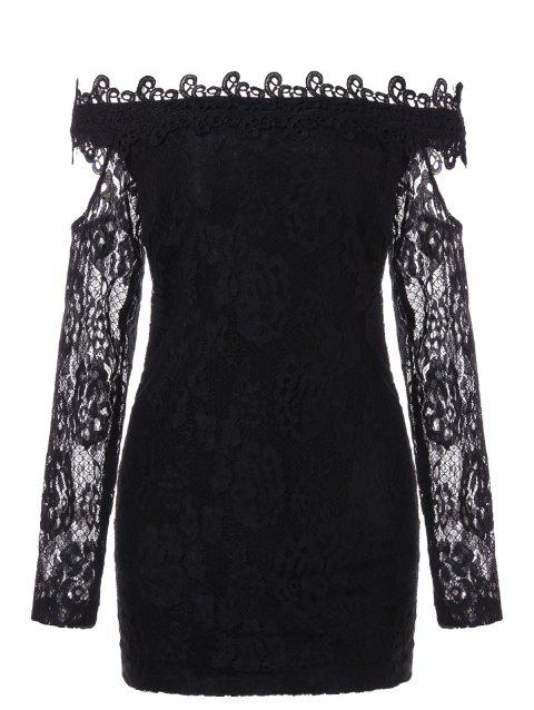 Long Sleeve Off Shoulder Lace Dress - BLACK M