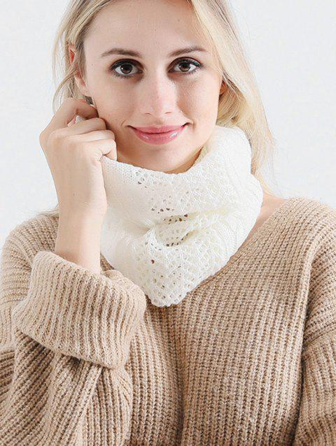Vintage Solid Color Knitted Infinity Scarf Beanie - BEIGE