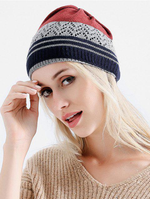 Outdoor Striped Pattern Knitted Infinity Scarf and Beanie - RED WINE