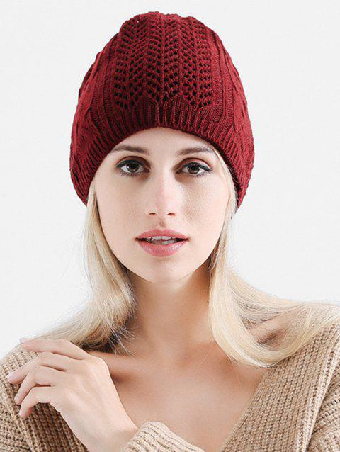 Vintage Solid Color Knitted Infinity Scarf Beanie - RED WINE