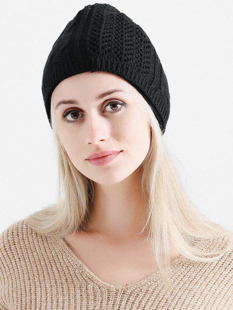 Vintage Solid Color Knitted Infinity Scarf Beanie - BLACK