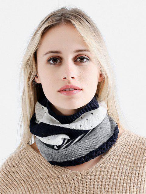 Outdoor Striped Pattern Knitted Infinity Scarf and Beanie - NIGHT