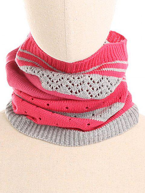 Outdoor Striped Pattern Knitted Infinity Scarf and Beanie - ROSE RED