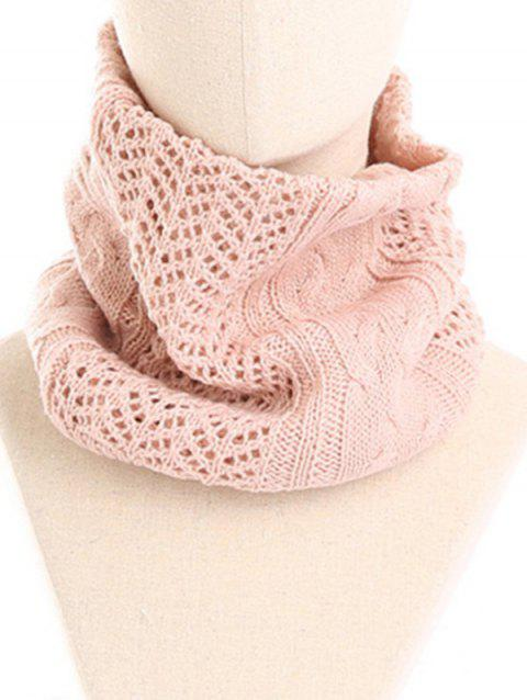 Vintage Solid Color Knitted Infinity Scarf Beanie - PINK