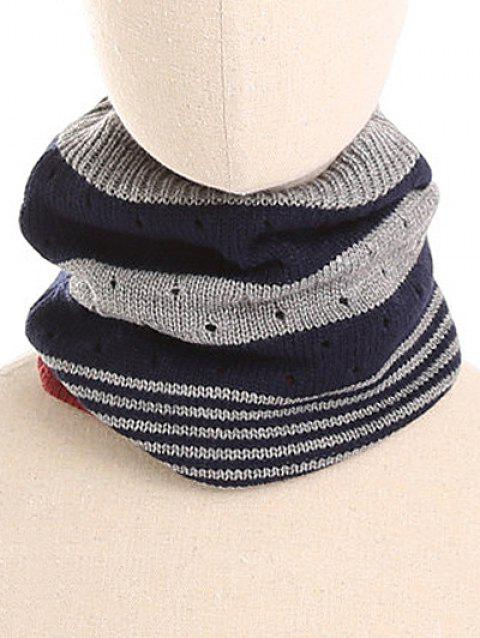 Outdoor Striped Pattern Knitted Infinity Scarf and Beanie - MIDNIGHT BLUE