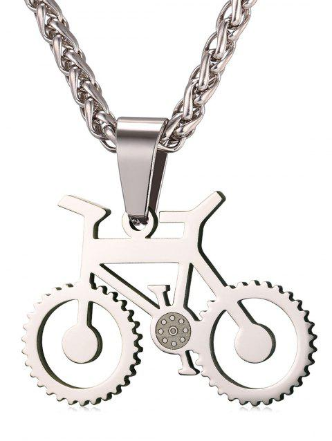 Alloy Bicycle Biker Necklace - SILVER