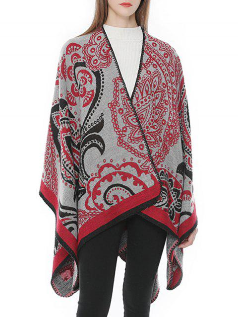Floral Ethnic Style Wrap Shawl Scarf - RED