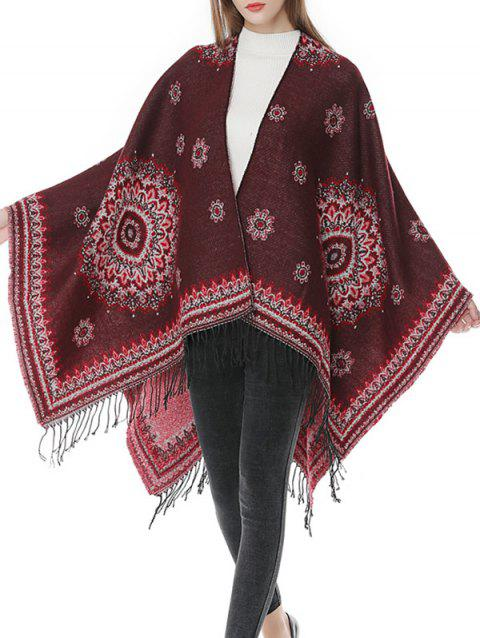 Floral Fringed Bohemian Wrap Shawl Scarf - RED WINE