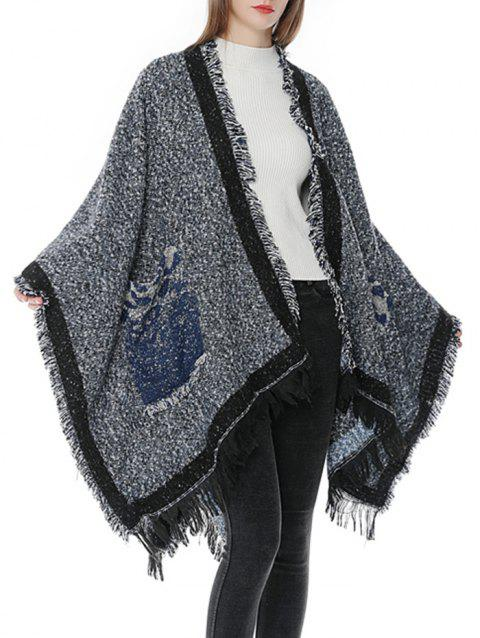 Winter Pocket Fringed Oversized Scarf - NAVY BLUE
