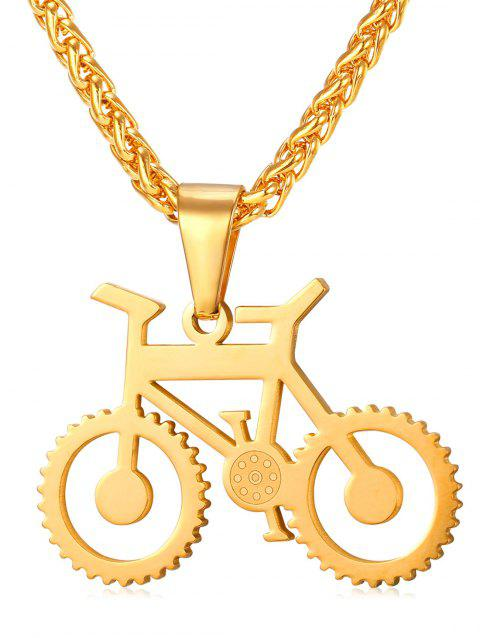 Alloy Bicycle Biker Necklace - GOLD
