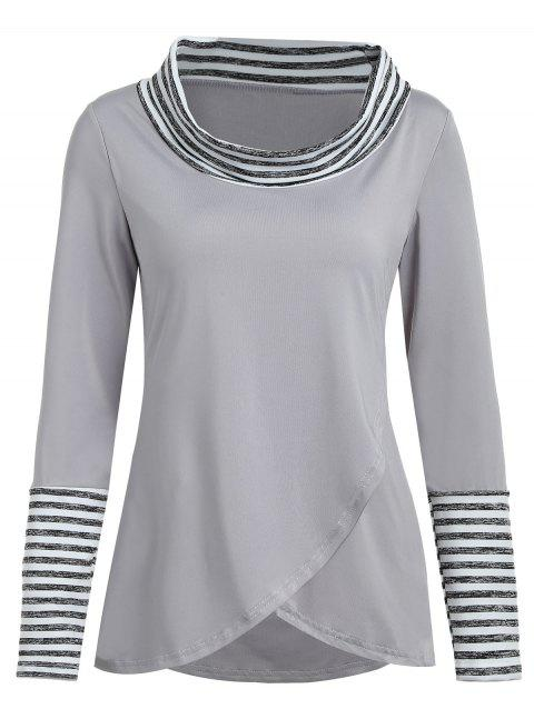 Stripes Long Sleeve Tulip T-shirt - GRAY M