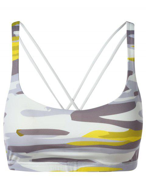 Stappy Back Print Workout Bra - WHITE L