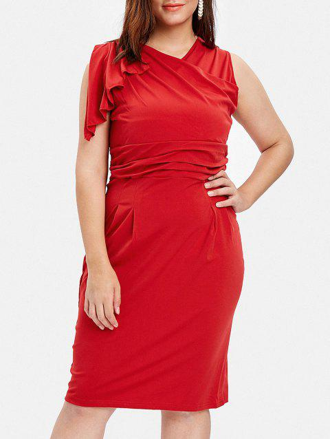 Plus Size Flutter Sleeve Bodycon Dress - RED 3X