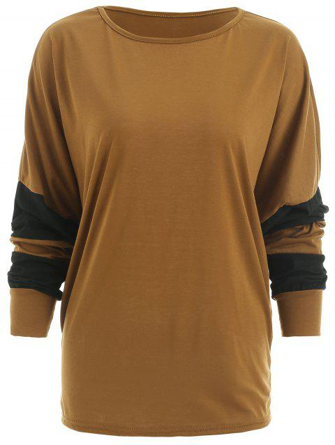 Plus Size Color Block Batwing Sleeve T-shirt - BROWN ONE SIZE