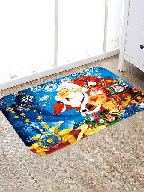 Christmas Santa Claus and Elk Printed Floor Rug - multicolor W16 X L24 INCH
