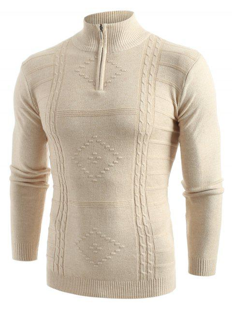 Stand Collar Zipper Solid Sweater - APRICOT M