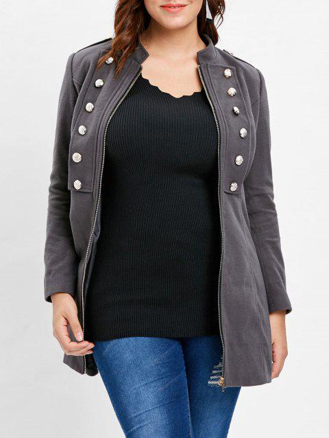 Plus Size Stand Collar Zip Coat - DARK GRAY 1X